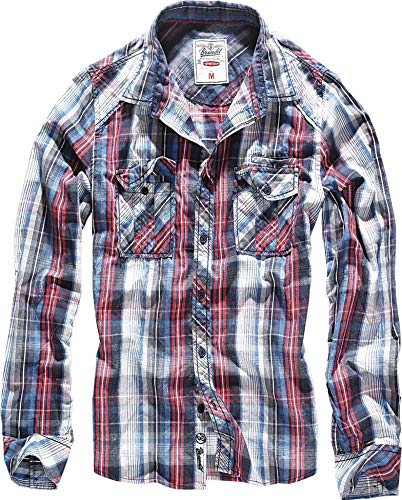Brandit Central City Check Shirt Vintage Hemd, Navy-white, 5XL -