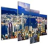 Kunstdruck - Hong Kong - Central District - Bild auf Leinwand - 120x80 cm 4 teilig - Leinwandbilder - Bilder als Leinwanddruck - Wandbild von Bilderdepot24 - Städte & Kulturen - Asien - China - Skyline von Hong Kong