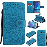 For Samsung Galaxy J5 2016 Case [Blue],Cozy Hut [Wallet Case] Magnetic Flip Book Style Cover Case ,High Quality Classic New design Sunflower Pattern Design Premium PU Leather Folding Wallet Case With [Lanyard Strap] and [Credit Card Slots] Stand Function Folio Protective Holder Perfect Fit For Samsung Galaxy J5 2016 / SM-J510 5,2 inch - blue