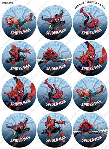Cakeshop 12 x VORGESCHNITTENE UND ESSBARE Spiderman Comic Kuchen topper (Tortenaufleger) - 2