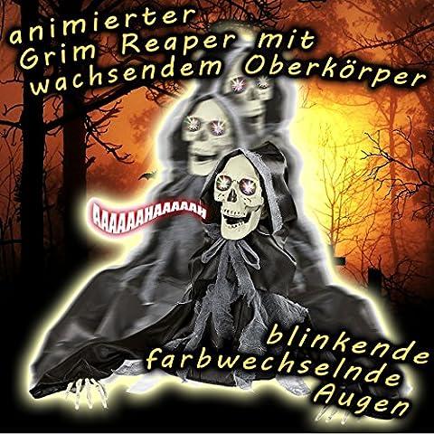 Schreiendes Deko Skelett Grim Reaper Figur mit Licht und Sound 50 cm Halloween Deko Sensenmann Horror Dekoration Zombie Raumdeko Geist Gruselige Partydeko