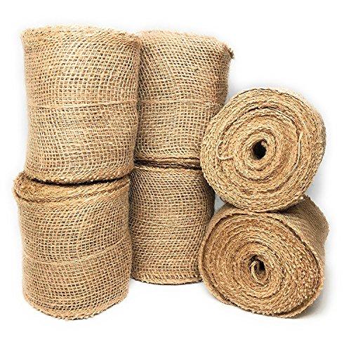 Jute Band, breit natur, 12,7cm X 10Yard lose Weave Rolle für das Handwerk und Decor 6 Rolls natur