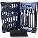CableFinder - Set di coltelli da lavoro e taglierini con kit di pulizia, comprensivo di lame con punta a scalpello, a cesello e a scalpello Exacto modello 40k, con foglio di carta abrasiva a secco o ad umido di grana 1200, 51 pezzi