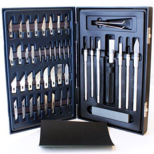 Preisvergleich Produktbild 51 Teile, Hobby, Craft Messerset, Skalpelle, Meißel &Exacto spitze Klingen K - 40