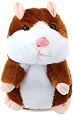 TOYMYTOY Talking Hamster Plush Toy Repeats What You Say Electronic Record Stuffed Animal Interactive Toy for Kids Early Learning Gift (Light Brown)