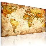 B&D XXL murando - Leinwandbilder Weltkarte Vintage 150x90 cm - Bild für die Selbstmontage - Wandbilder XXL - Kunstdruck - Landkarte Geographie sepia 030115-56