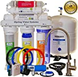 iSpring RCC7AK - WQA GOLD SEAL - US Legendary - 6 Stages 75GPD Reverse Osmosis Water Filter System featuring Alkaline Mineral Stage, Brushed Nickel EU Faucet ($45 value) and Clear See-through 1st Stage
