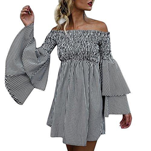 Frauen Kurzes Kleid, Sexy Schulterfrei Stripe Mini Kleid Flare Sleeve Party Kleid axchongery 3XL Schwarz Sexy Flare