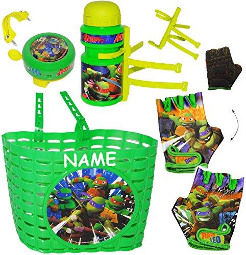 alles-meine.de GmbH 5 TLG. Set _ Fahrradkorb & Fahrradtrinkflasche & Fahrradklingel & Fahrradhandschuhe -  Teenage Mutant Ninja Turtles  - incl. Name - Korb mit Befestigung - F.. (Ninja Turtle Korb)