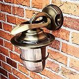 Außenleuchte Rustikal Echt-Messing antik rostfrei Käfig Schirm Riffelglas H24cm Premiumqualität Wandlampe Haus Hof