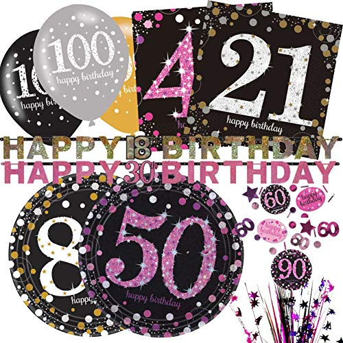 NANA'S PARTY Celebration Geburtstagsparty-Reihe – Gold – Pink – Tischgeschirr Luftballons Dekoration, Gold Celebration, 2.13m Prismatic Letter Banner,Age 80/80th Birthday