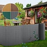 Brise vue 5m casa pura pare vue canisse lamelle | balcon, jardin | occultant, résistant | gris - 100x500cm