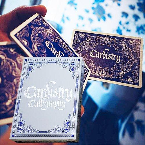 Mazzo di carte cardistry calligraphy - blu - mazzi di carte da gioco - giochi di prestigio e magia - solomagia