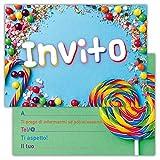 Partycards Set di 12 inviti compleanno Biglietti invito per festa compleanno Per Bambini e Adulti in Italiano - Sweets Lecca lecca