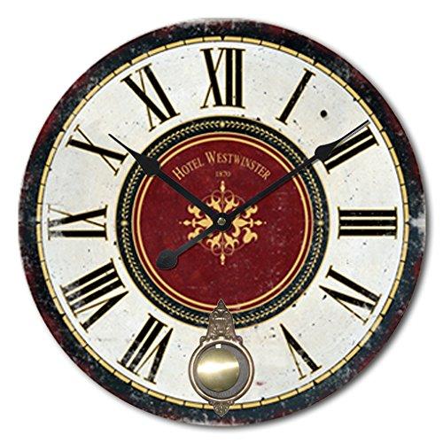 Collezione di Alice – Grande Orologio Pendolo da Parete Rotondo in Legno Vintage da MDF – Orologio Stile Shabby Chic Adatto per la Sala Cucina & Camera da Letto | Diametro 60cm (No 1)