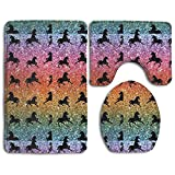 Rainbow Glitter Unicorns 3-Piece Soft Bath Rug Set Includes Bathroom Mat Contour Rug Lid Toilet Cover Home Decorative Doormat
