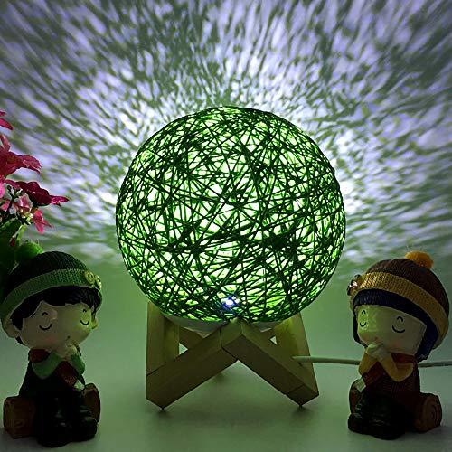 TianranRT Lampe de chevet 3D LED en rotin pour la lune et la nuit, vert
