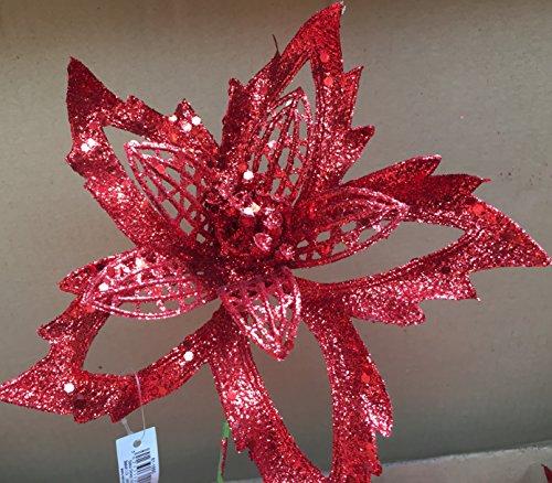Grande Rosso Glitter Stella Pick Fiore Artificiale ~