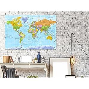Tablón mapa del mundo y lienzo k-A-0094-v-a, color G(Polnisch)-120×80 cm