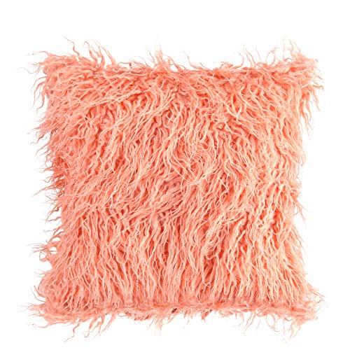 üge, Werfen Sie Fell flauschige Sofa Kissen weichen Plüsch Luxus Kissen decken Faux Pelz Kissen Nackenrolle Abdeckungen<br/>(Orange) ()