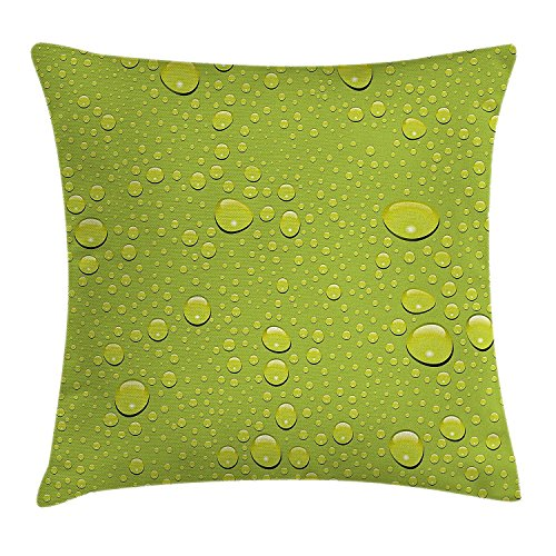 Nizefuture Abstract Throw Pillow Cushion Cover by, Water Rain Drops on Colored Background Purity Symbol Liquid Forms Illustration, Decorative Square Accent Pillow Case, 18 X 18 Inches, Apple Green (Green Ninjago Namen)