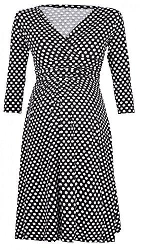 Kleider Mit ärmeln Mutterschaft (Happy Mama Damen Umstandskleid Schwangerschafts Kleid mit Punktemuster 017p (Schwarz mit Punkten, EU 42/44))