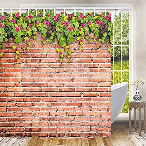 Tapete Duschvorhang für Badezimmer, Rosmarin Blumen Blumen Blumen Blätter auf weißem rustikalen Ziegelwand Grün Garten Wand Tapete Badvorhang Dekor, Stoff Badezimmer Dekor Set mit Haken, 69 x 178 cm (Wand-dekor-garten)