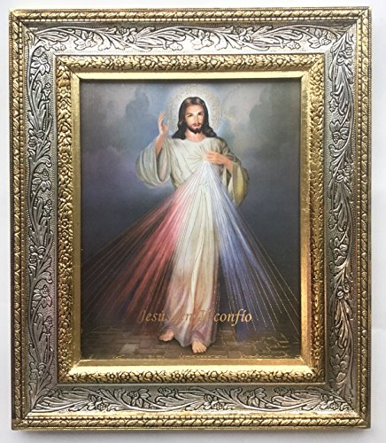 Divine Mercy Gerahmter Hochformat Print, 33cm (Kunstvoller Gold Ton Finish Rahmen) Jesus en Ti Confio -