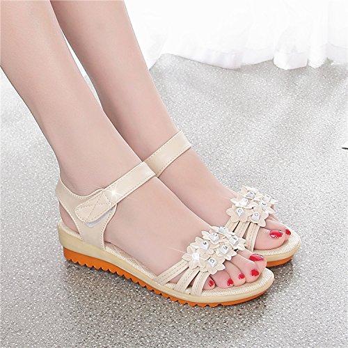 Damen Leder Schuhe Sommer Sandale Highheels, 34 weiß White