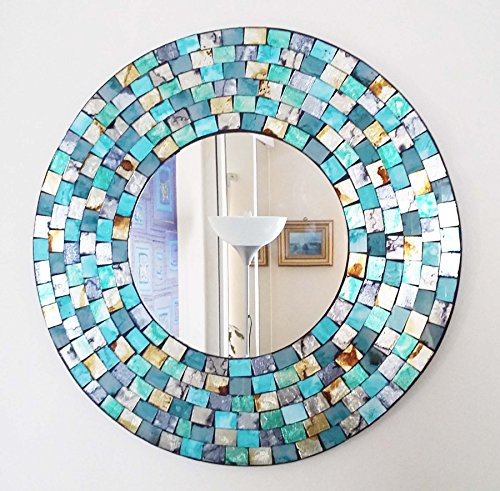 Turquoise and gold mosaic round mirror