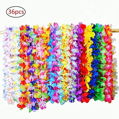 (Hawaiian Girlanden, 36 Stück Tropical Hawaiian Rüsche Luau Flower Lei Bunte Halsketten Silk Flower Garland Stirnband für Luau Thema Sommer Beach Party Festival Kostüm Kleid liefert Dekorationen Gefälligkeiten)