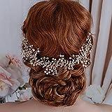 FXmimior - Diadema de novia para novia, accesorio para el pelo, diadema de alambre, boda con alambre, cristales de vidrio, oro rosa
