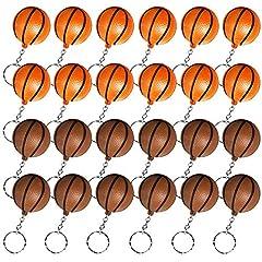 Idea Regalo - Heqishun 24 Pezzi Portachiavi di Pallacanestro Portachiavi da Basket per Favori di Partito e Ricompensa del Carnevale Scolastico Regali Creativi per la Festa a Tema del Basket Arancione e Marrone