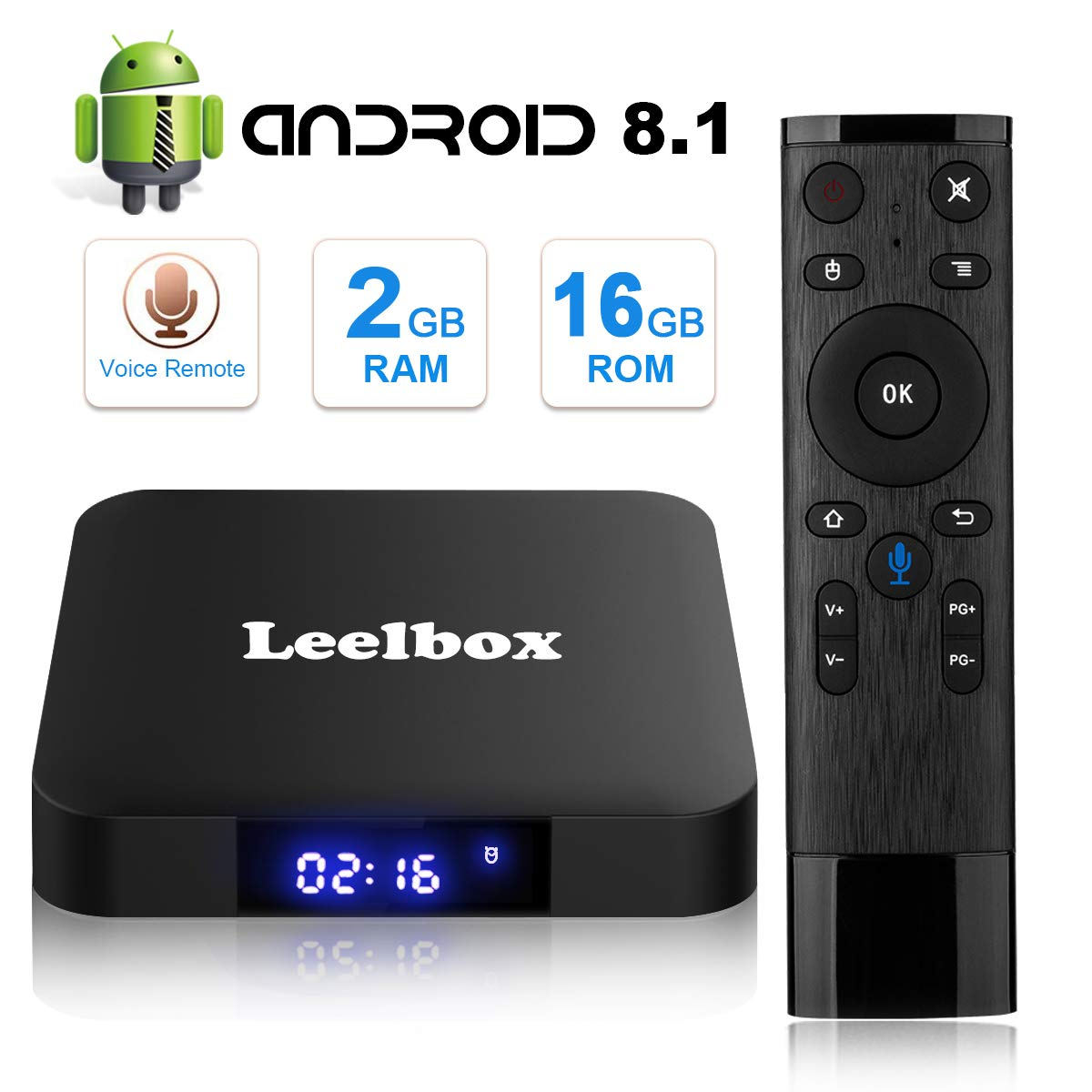 tv box android 8.1 4gb 64 gb telecomando vocale  TV Box Android 8.1 - Leelbox Smart TV Box con Telecomando Vocale ...