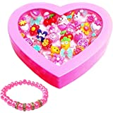 Tahera Girls Kids Gift Cartoon Pretend Play Toy Fancy Finger Rings for birthday Gifting Comes in Pink Heart Shape Gift Box .