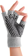 Nimble House Women'S Fingerless Gloves For Yoga, Gym And Fitness- High Density Neoprene With Non Slip Pilates With Silicone Dots (Color Grey)