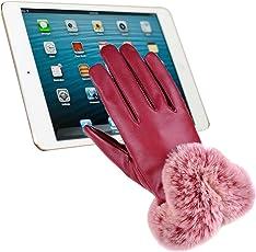 F.anlos Lederhandschuhe Damen, Winter Touchscreen Handschuhe, Warme Outdoor Handschuhe mit Voller Touchscree