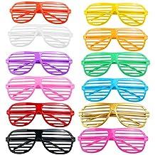 RUIMIO 12 divertidos PC plástico decorativo tonos los vidrios del obturador posando las gafas de sol gafas Pop para fiesta Canival