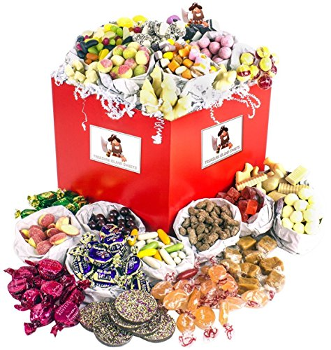 Captain Smollett's Traditional Sweet Hamper - Beautiful Red Gift Hamper With White Ribbon & Pirate Gift Tag