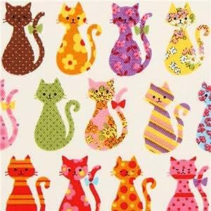 Tissu Oxford écru avec des chats, Kokka