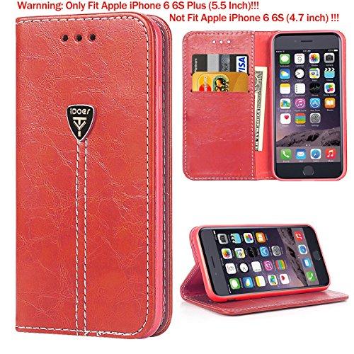 Étui Coque iPhone 6S Silicone Housse étui Portefeuille a rabat Cuir Fermeture Magnétique Protection iPhone 6 Plus Case ecriture Béquille Coque 6s Plus en ultra slim anti choc pour Apple iPhone 6 6S Pl rouge