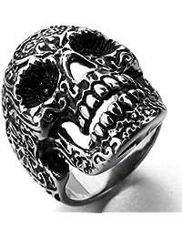 MunkiMix Acero Inoxidable Anillo Ring Negro El Tono De Plata Cráneo Calavera Flor Flower Hombre