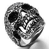 MunkiMix Acero Inoxidable Anillo Ring Negro El Tono De Plata Cráneo Calavera Flor Flower Talla...