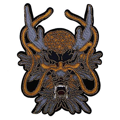 EMDOMO Parche Bordado Cabeza de dragón, Parche Cosido en Insignias, Parches Traseros para Prendas de Vestir, Chaqueta y Suministros de Manualidades, 1 Pieza