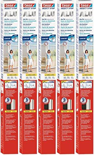 5 Stück tesa Fliegengitter Alurahmen für Türen, Rahmenfarbe: weiß, 1m x 2,2m