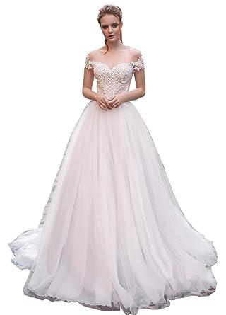 Dressvip Glamour et Chic Robe de Mariée pour Mariage Boule Longue 2018  Manche Courte Col Rond