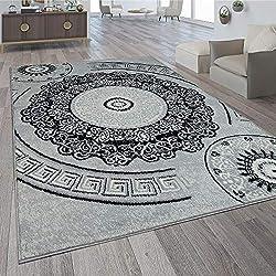 Paco Home Alfombra De Diseño con Motivo De Mandala Gris, tamaño:160x220 cm