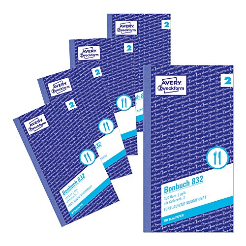 Preisvergleich Produktbild Avery Zweckform 832-5 Bonbuch (Kompaktblock mit je 300 Bons, Kellner-Nr. 2, 2x50 Blatt) 5 Bücher, gelb/weiß