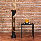 Leewadee Große Bodenvase für Dekozweige hohe Standvase Design Holzvase, 15x90 cm, Holz, Braun Schwarz