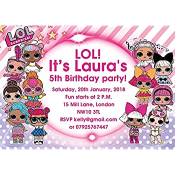 Abv Designs 10 X Lol Dolls Personalised Children Birthday Party Invitations Or Thank You Cards With Pink Envelopes
